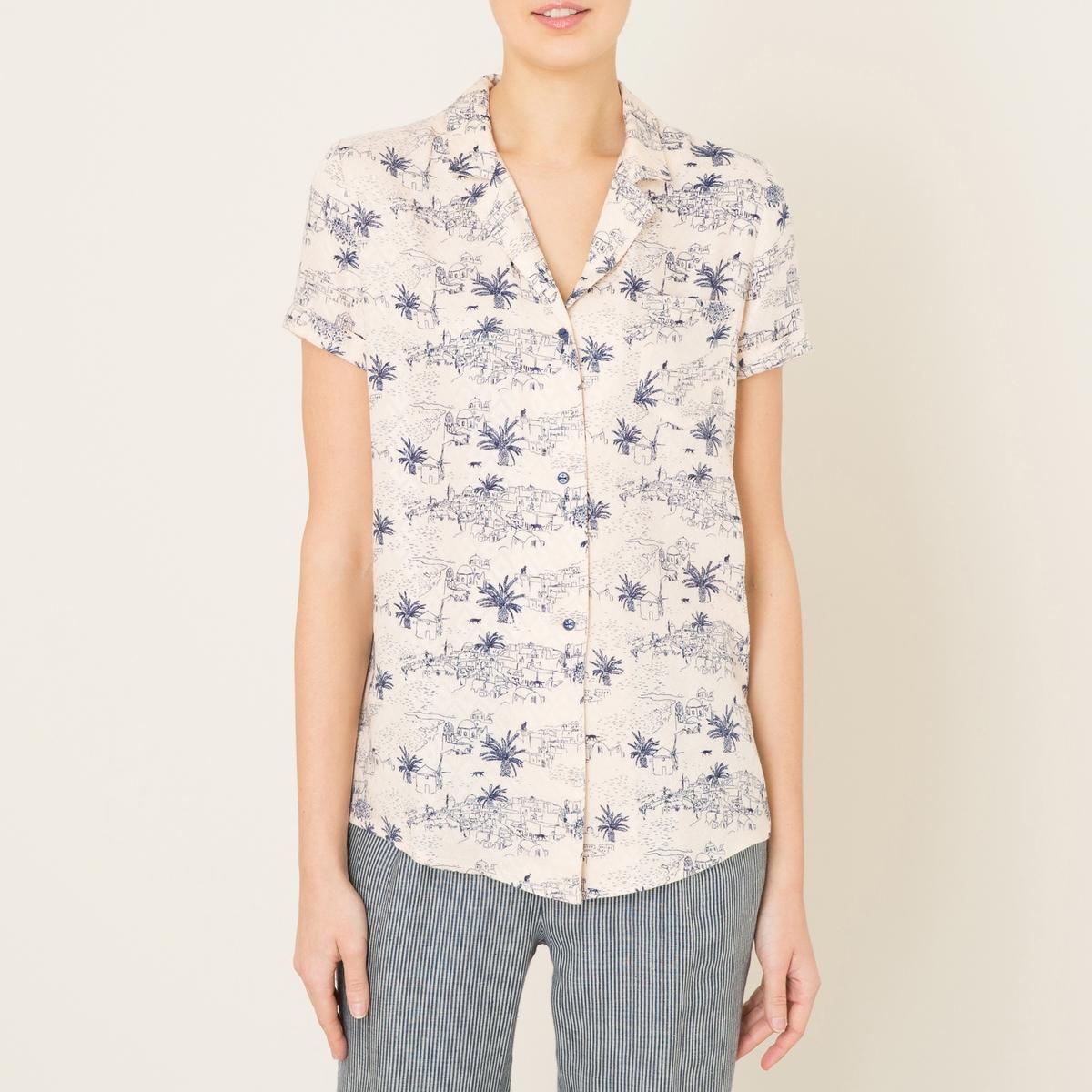 Рубашка с короткими рукавами OTATEAРубашка SESSUN - модель OTATEA. Классический рубашечный воротник. Короткие рукава с отворотами. Застежка на пуговицы. Нагрудный карман. Слегка закругленный низ. Сплошной рисунок.   Состав и описание   Материал : 100% вискоза   Марка : SESSUN<br><br>Цвет: рисунок/экрю