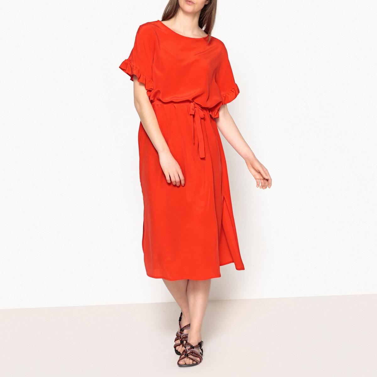 Платье с воланами, рукава 3/4 CLOTILDE msgm топ с крупными воланами