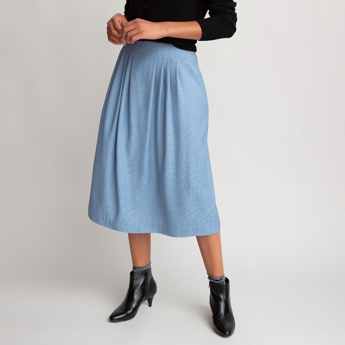 Фото - Юбка-миди LaRedoute Со складками из жаккардовой ткани с анималистичным принтом 38 (FR) - 44 (RUS) синий 12storeez юбка миди со складками спереди