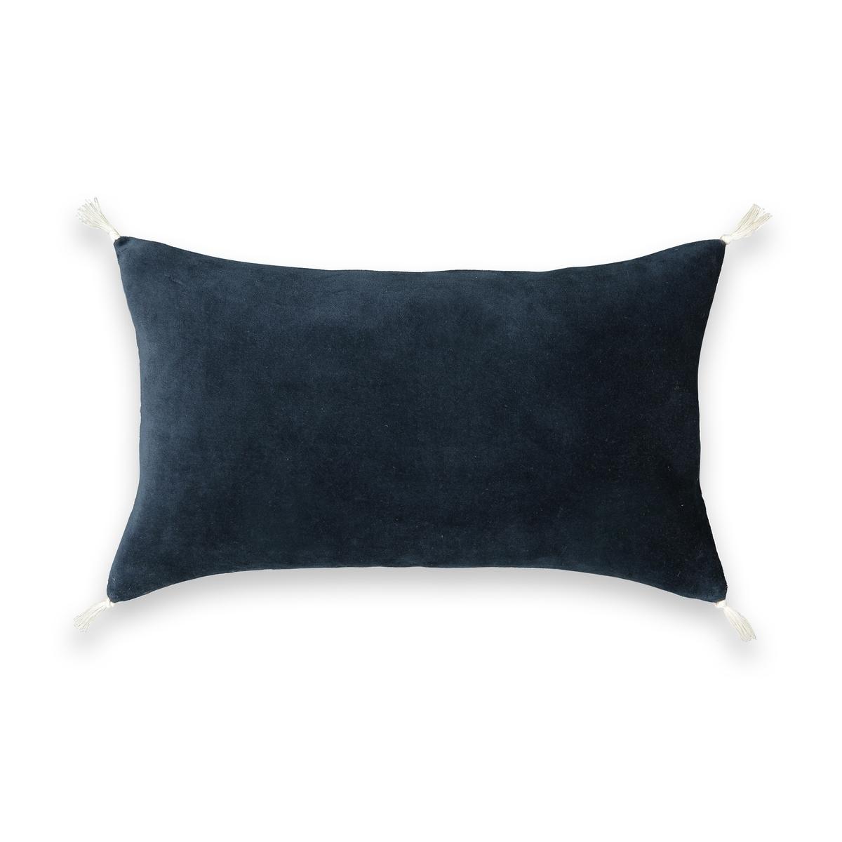 Наволочка La Redoute Из льна и велюра Alicia 50 x 30 см синий покрывало la redoute alicia 130 x 180 см синий