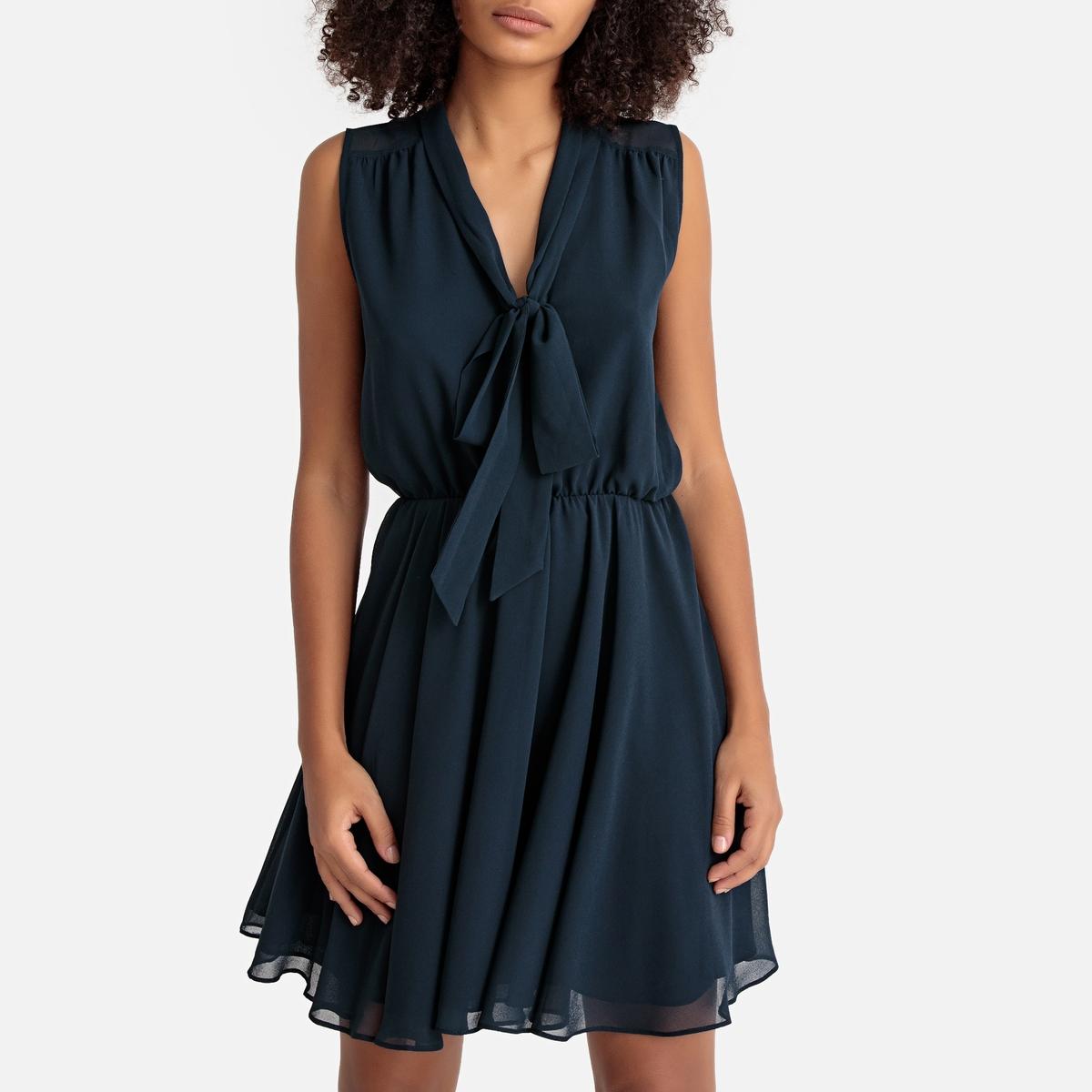 Платье La Redoute Расклешенное с вырезом с галстуком-бантом без рукавов L синий цена