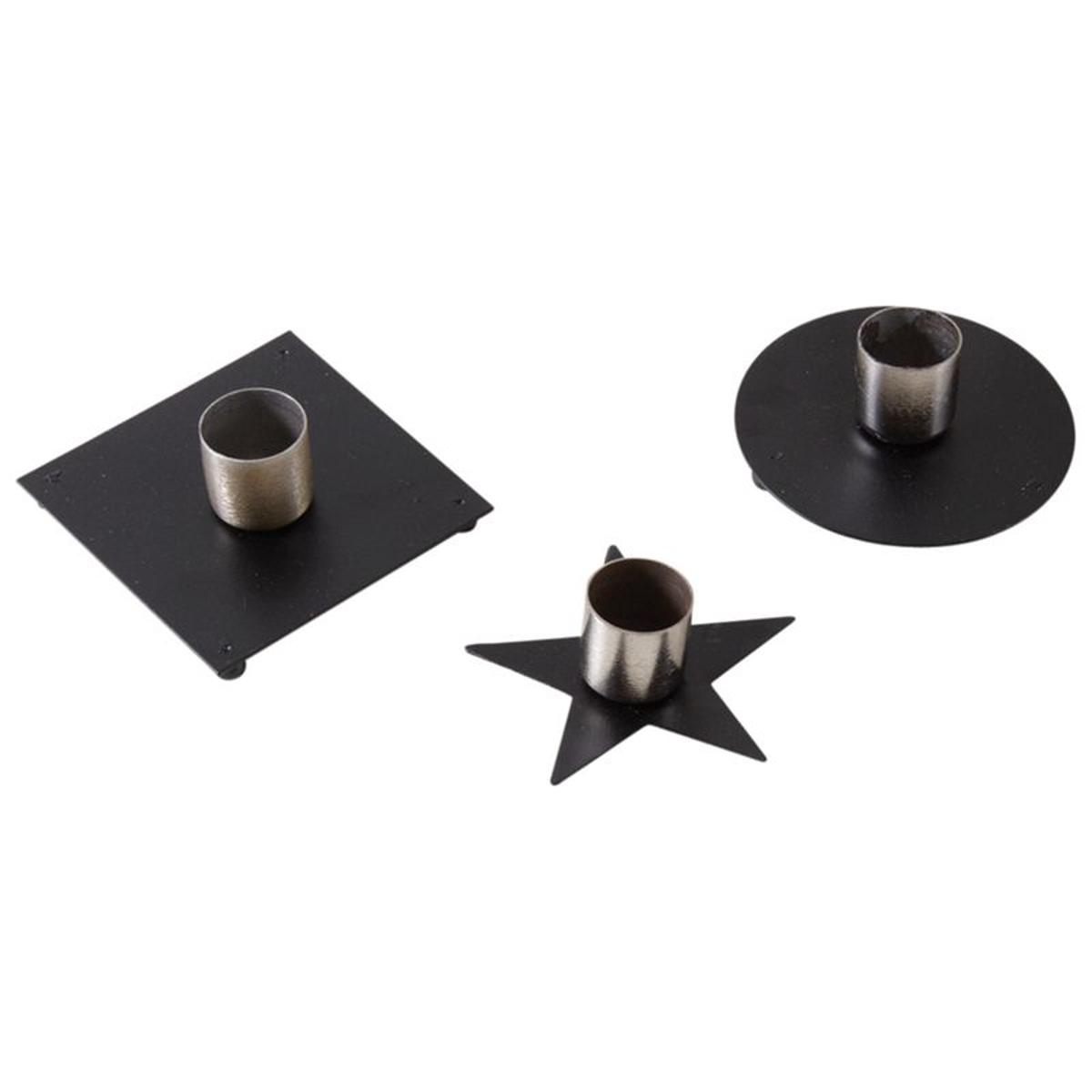 Bougeoir en métal laqué noir (Lot de 3)