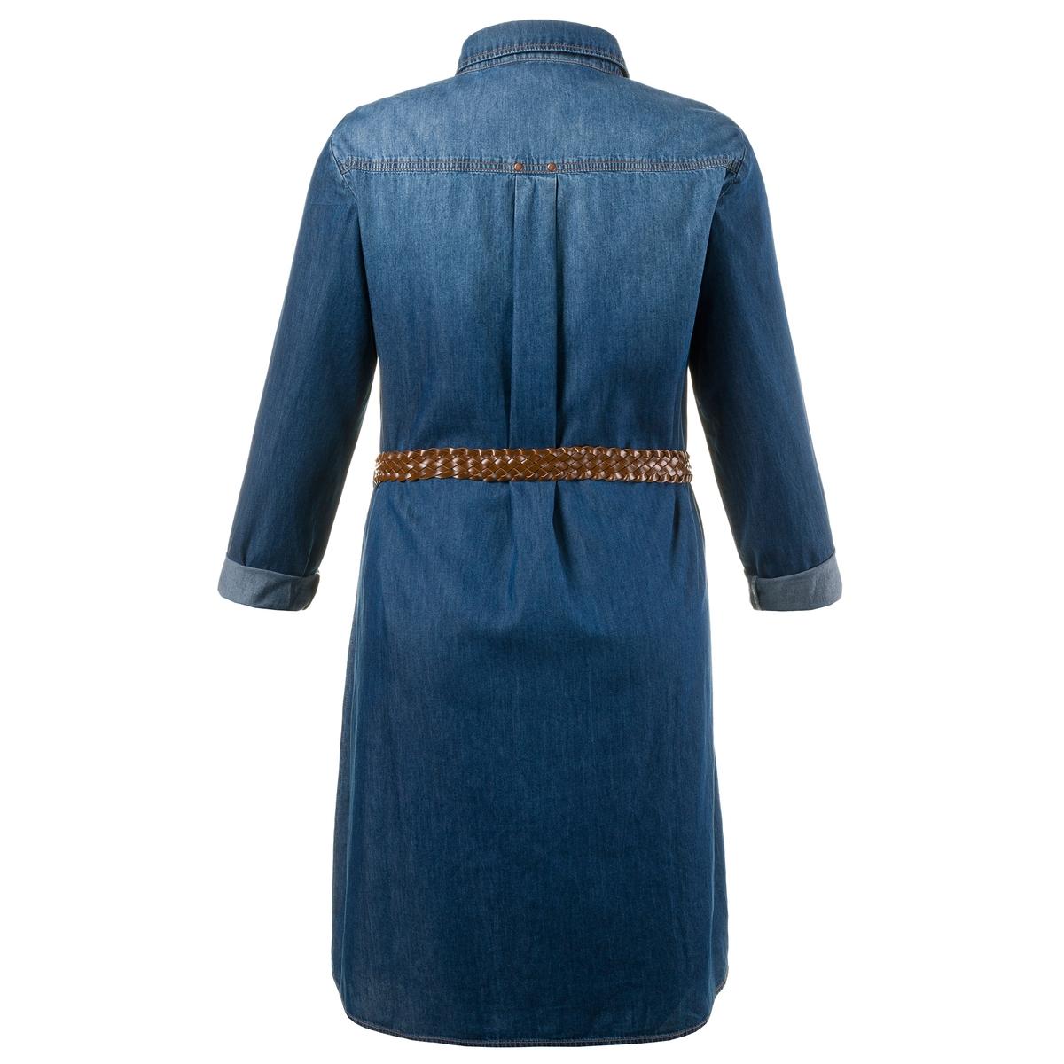 Платье из денимаПлатье из денима ULLA POPKEN. 100% хлопок. Очень мягкое платье из денима. Красивый линялый эффект и плетеный пояс на завязках. Традиционный рубашечный воротник, скрытая планка застёжки на пуговицы, нагрудный карман и длинные, закатывающиеся до размера 3/4, рукава. Длина ок. 100 см, начиная с размера 52/54 ок. 104 см<br><br>Цвет: синий джинсовый<br>Размер: 48/50 (FR) - 54/56 (RUS)
