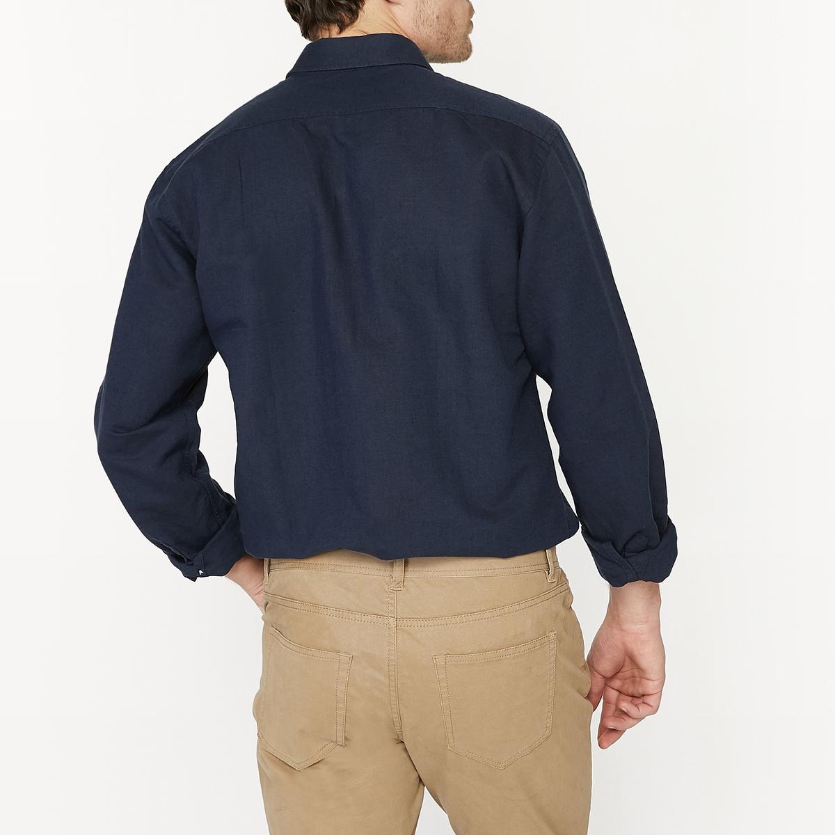 Рубашка с длинными рукавами прямого покроя, с содержанием льнаРубашка. Прямой покрой.Итальянский воротник.Длинные рукава и манжеты с застежкой на пуговицы. Состав и описание :Материал : 53 % льна, 47 % хлопка.Длина 77 см.Марка : R edition.Уход :Машинная стирка при 30°, деликатный режимСухая (химическая) чистка запрещена Машинная сушка запрещенаСтирать вместе с одеждой подобных цветов.Стирать и гладить с изнаночной стороны<br><br>Цвет: синий морской<br>Размер: 37/38.47/48.35/36