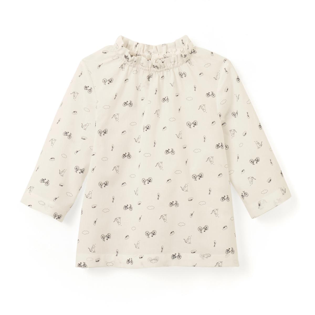 Блузка с рукавами 3/4 и рисунком, 3-12 лет