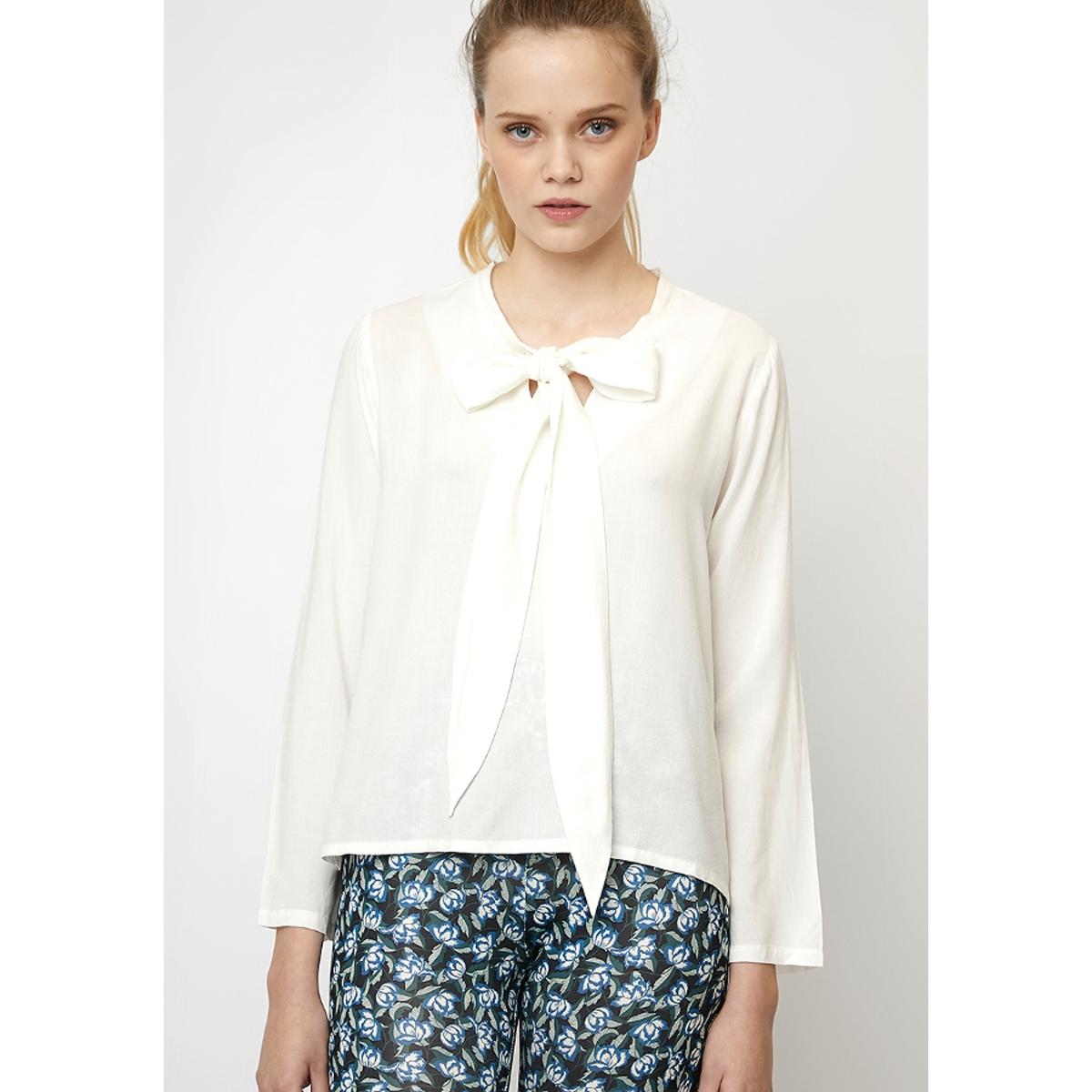 где купить Блузка La Redoute С завязками на воротнике с длинными рукавами XL бежевый дешево