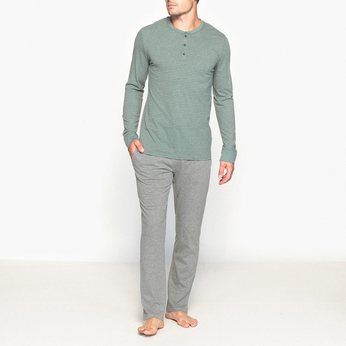 Пижама с футболкой с длинными рукавами и круглым вырезом с разрезом спереди футболка в полоску с круглым вырезом