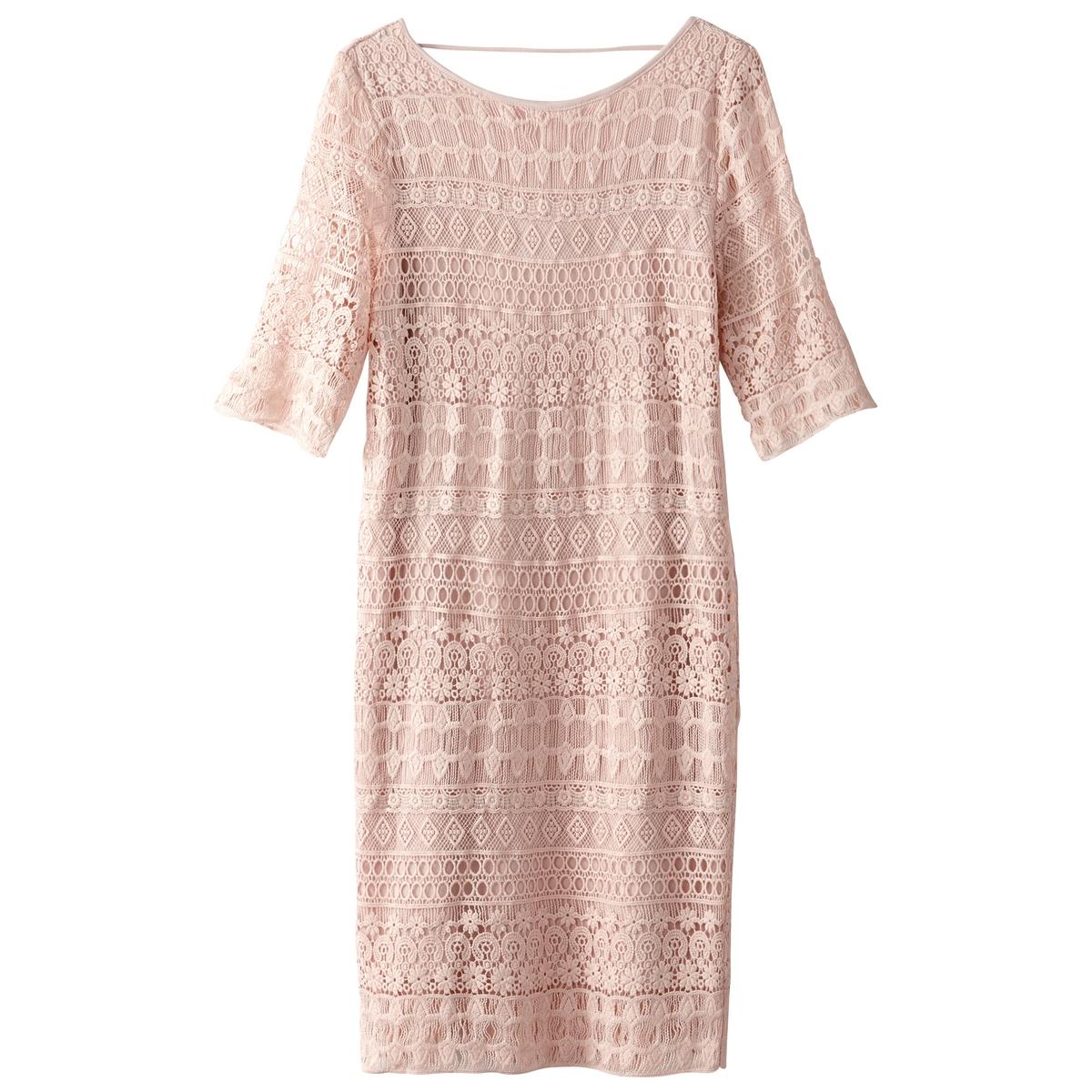 Платье однотонное прямого и короткого покроя с рукавами 3/4Описание:Детали •  Форма : прямая •  Укороченная модель •  Рукава 3/4    •  Круглый вырезСостав и уход •  100% полиэстер •  Следуйте советам по уходу, указанным на этикетке<br><br>Цвет: светло-розовый<br>Размер: M