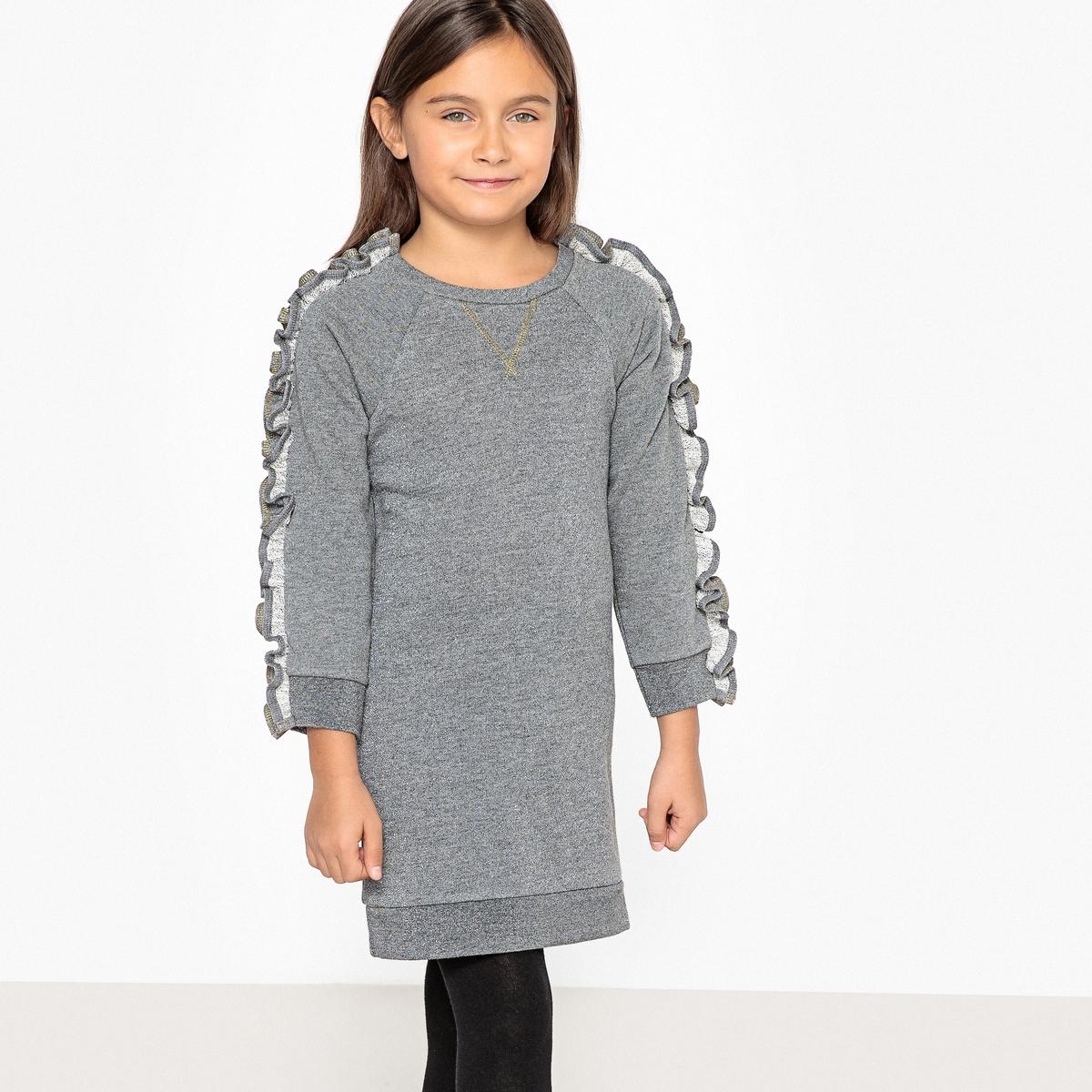 цена Платье La Redoute Из мольтона с воланами 3 года - 94 см серый онлайн в 2017 году