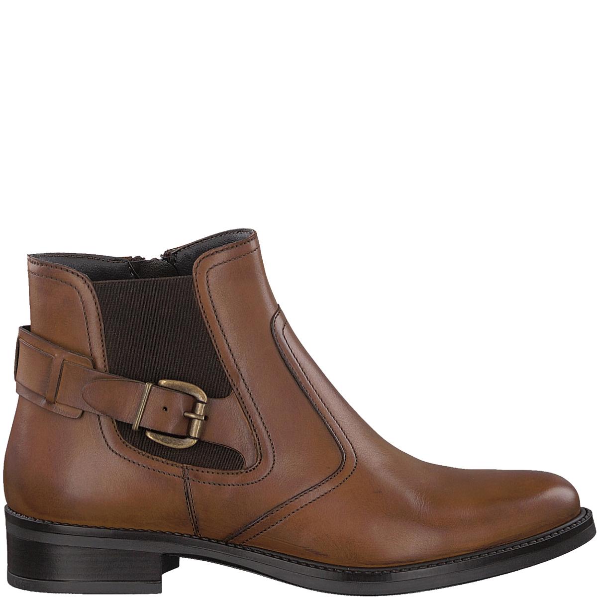 Ботильоны кожаные JessyДетали •  Высота голенища : 11 см для размера 37 •  Высота каблука : 2,5 см •  Застежка : на молнию •  Круглый мысокСостав и уход •  Верх 100% кожа •  Подкладка 100% текстиль •  Стелька 100% текстиль •  Подошва 100% синтетический материал<br><br>Цвет: коньячный,черный<br>Размер: 38.40.37