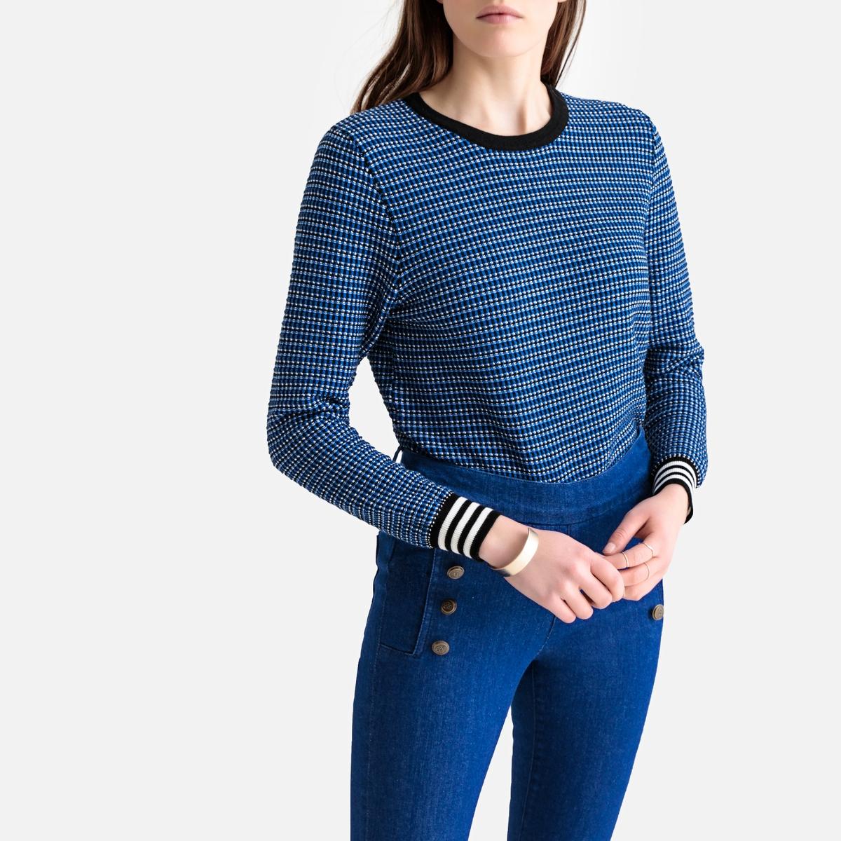 Пуловер La Redoute С круглым вырезом из тонкого жаккардового трикотажа M синий пуловер la redoute с круглым вырезом из шерсти мериноса pascal 3xl черный