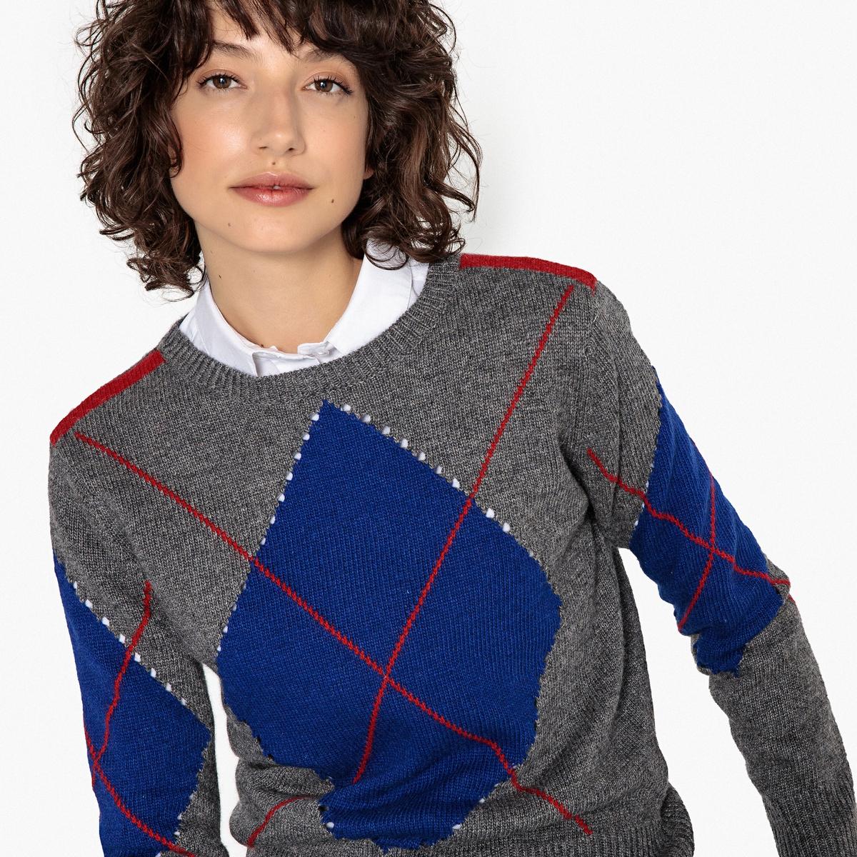 Sweter z okrągłym dekoltem, żakard w romby
