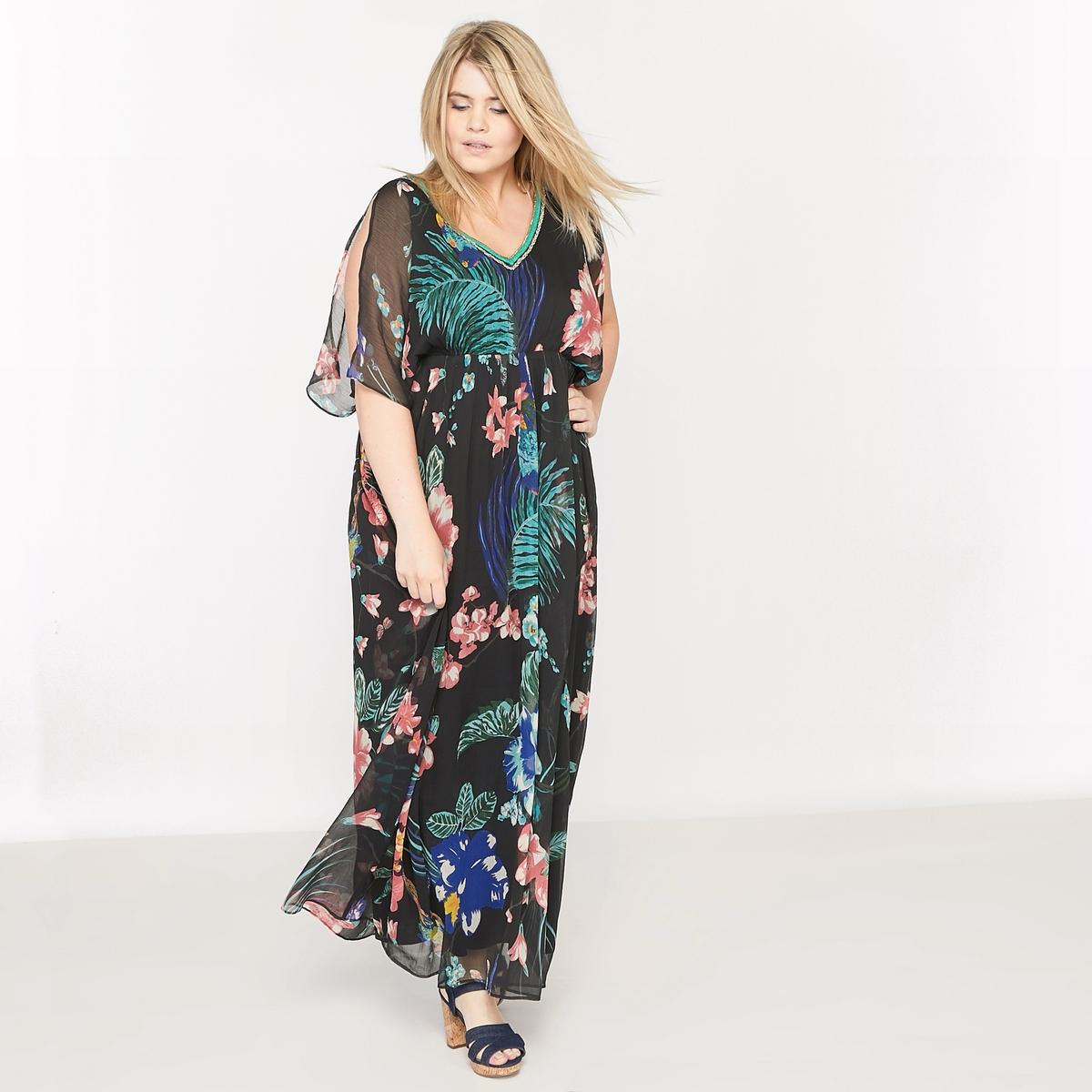 Платье кафтан длинное с рисунком