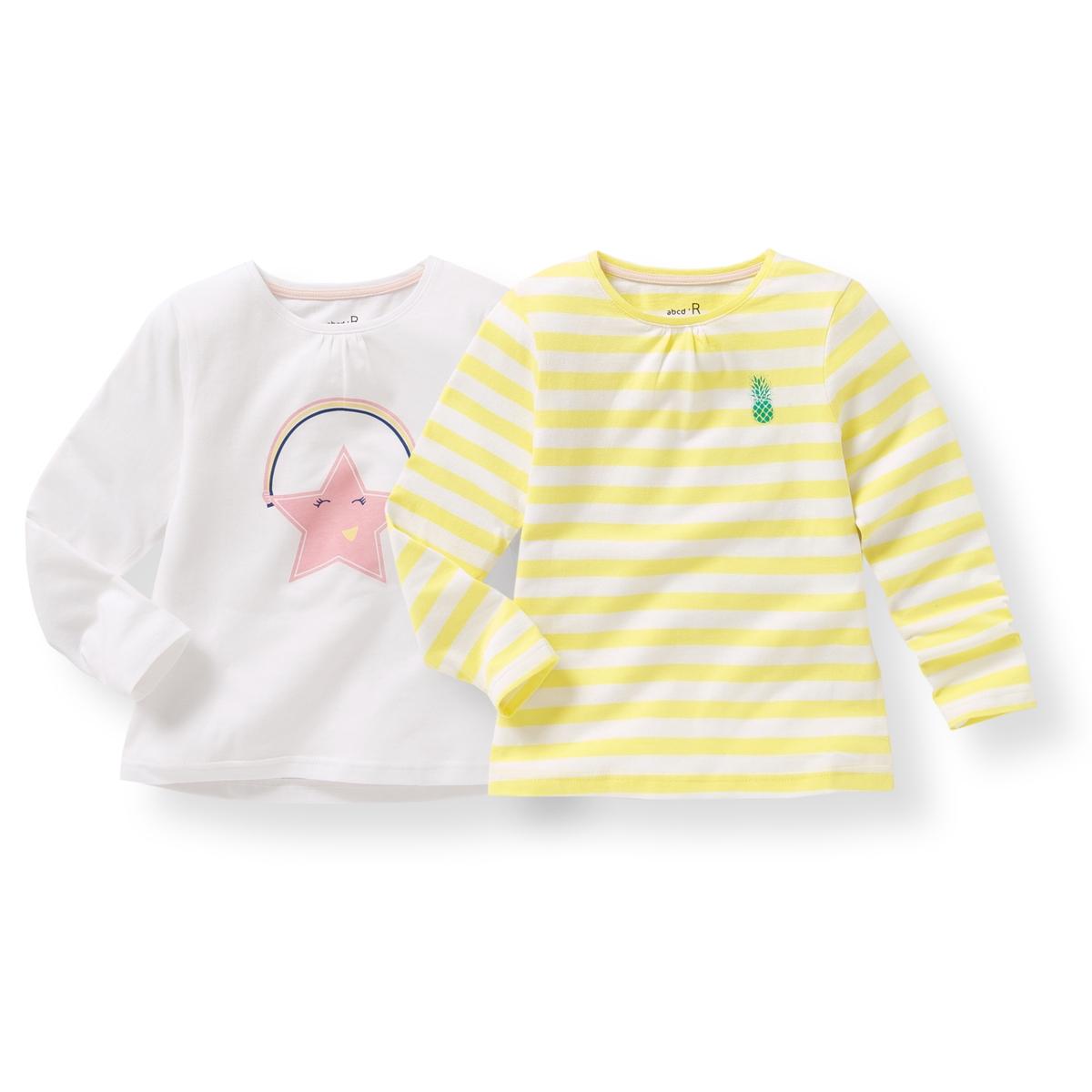 Комплект из 2 футболок с длинными рукавами, 3-12 летОписание:Детали •  Длинные рукава •  Круглый вырез •  Рисунок спередиСостав и уход •  100% хлопок •  Температура стирки 30° •  Сухая чистка и отбеливание запрещены • Барабанная сушка на слабом режиме    •  Низкая температура глажки<br><br>Цвет: белый+желтый<br>Размер: 10 лет - 138 см.12 лет -150 см