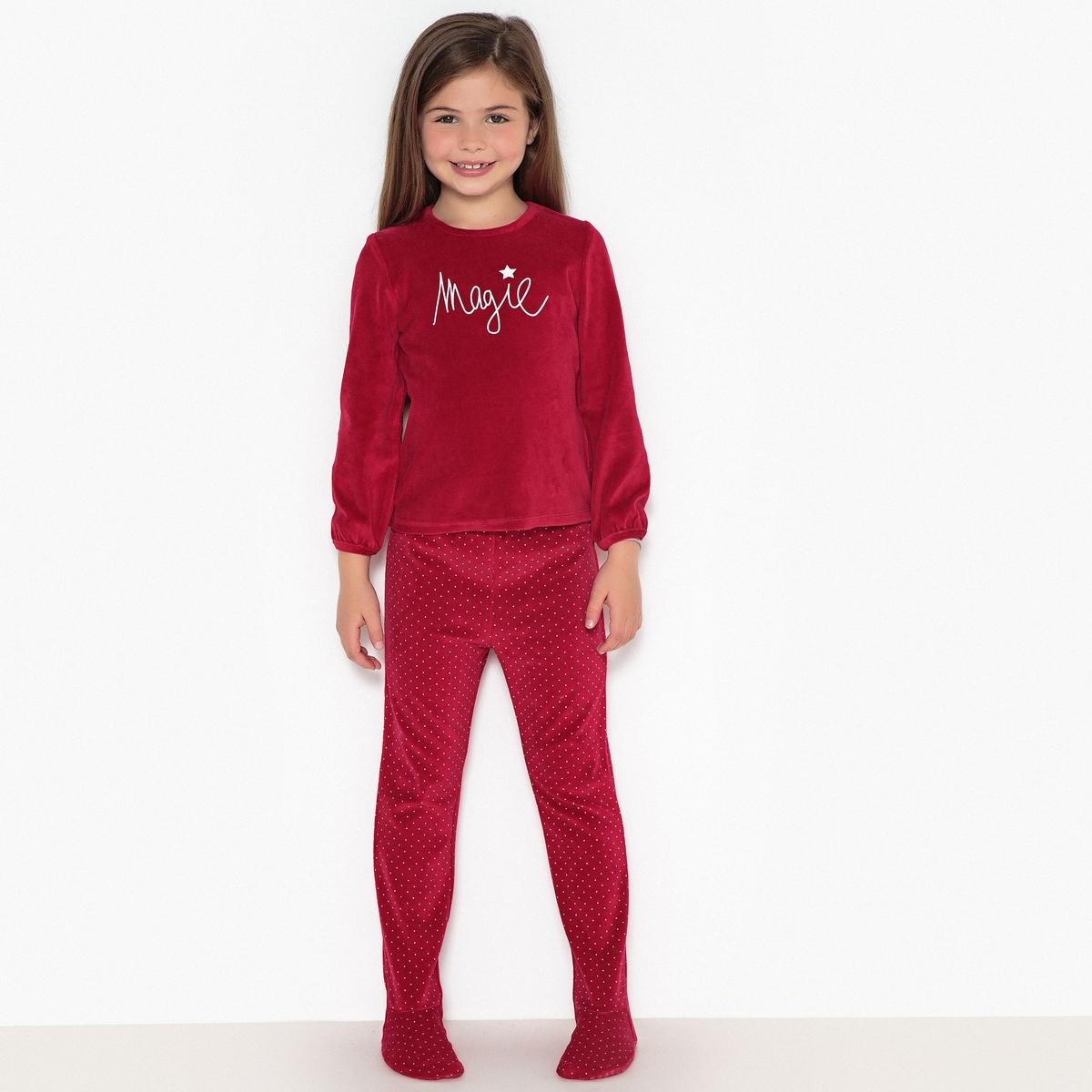 Пижама из 2 предметов с длинными рукавами из велюра, 3-12 лет