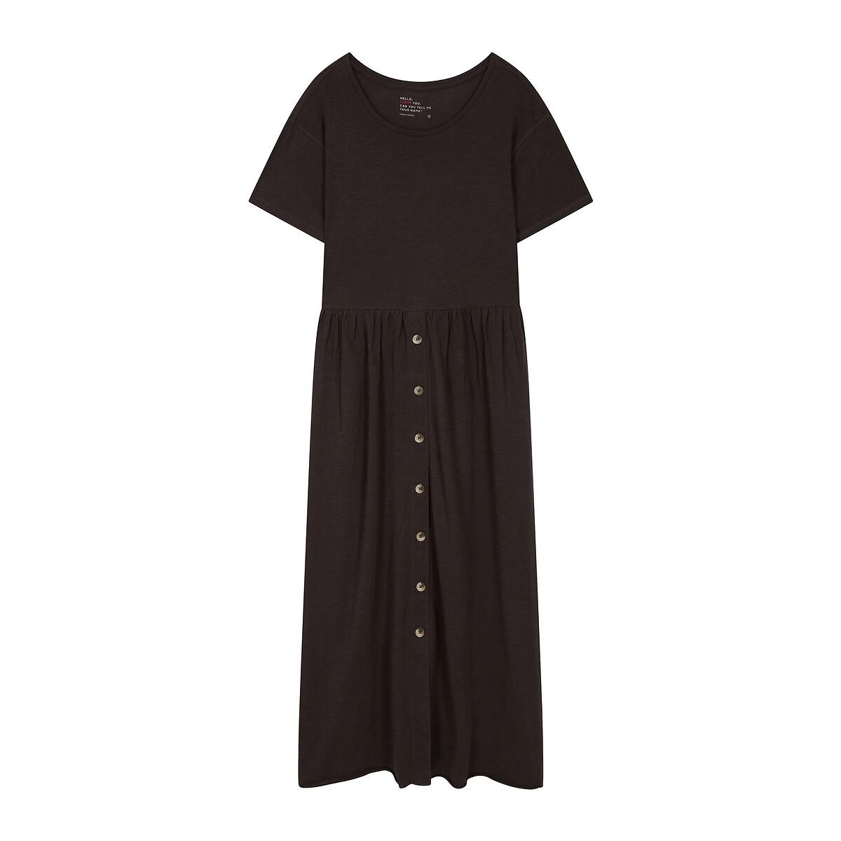 Платье La Redoute С круглым вырезом из биохлопка миди REVA S черный свитшот la redoute с круглым вырезом и вышивкой s черный