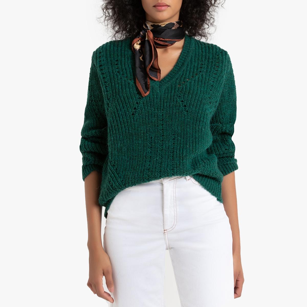 Свитер La Redoute С длинными рукавами и V-образным вырезом Macleny S зеленый цена