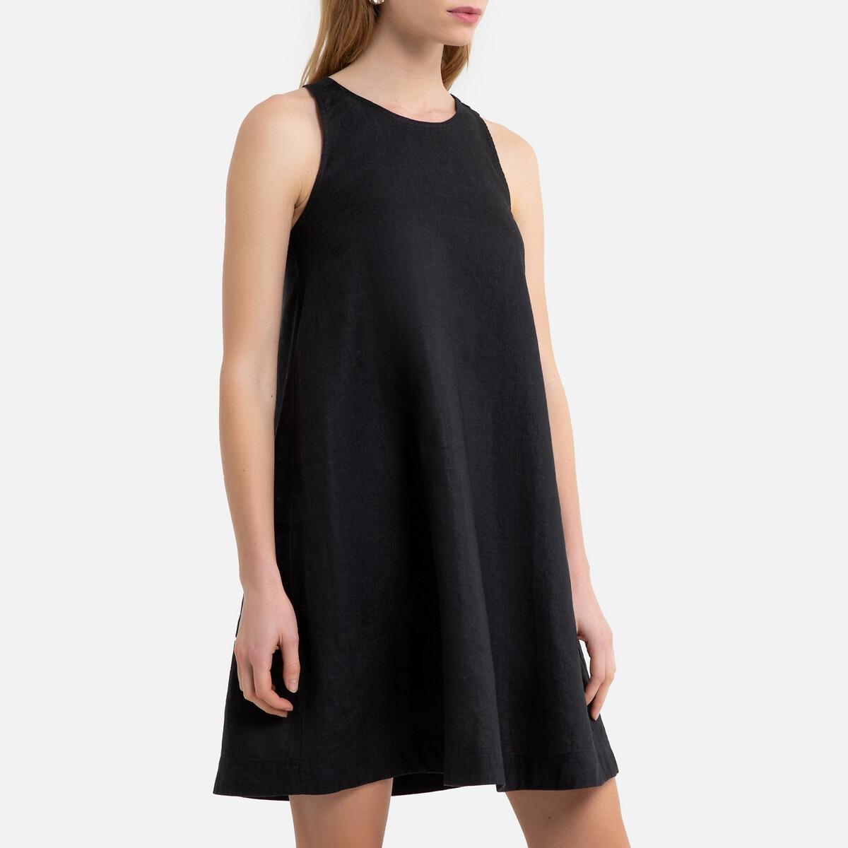 Платье La Redoute Без рукавов расклешенной формы из льна 36 (FR) - 42 (RUS) черный