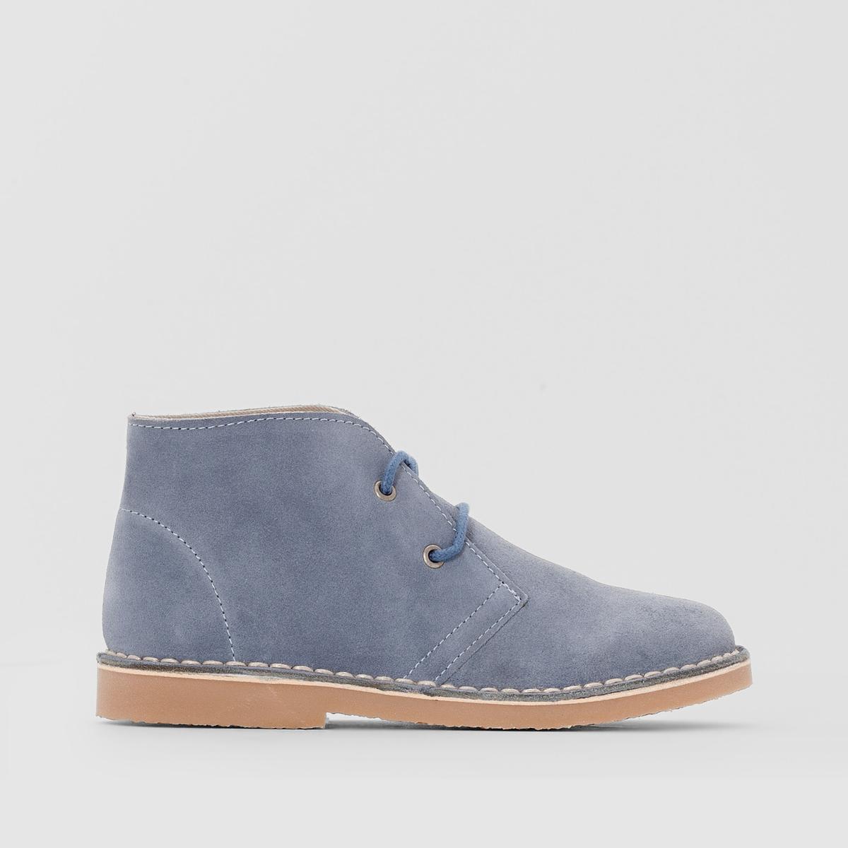 Ботинки из невыделанной кожиДетали  •  Застежка : шнуровка •  Круглый мысокСостав и уход  •  Верх 100% спилок •  Подкладка 100% других волокон<br><br>Цвет: синий