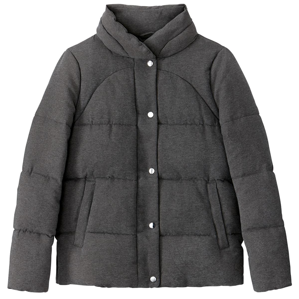 Куртка с воротником-стойкойДетали •  Длина  : укороченная модель •  Воротник-стойка •  Застежка на кнопки Состав и уход •  100% полиэстер  • Не стирать •  Деликатная сухая чистка / не отбеливать  •  Не использовать барабанную сушку   •  Не гладить<br><br>Цвет: темно-серый меланж<br>Размер: 44 (FR) - 50 (RUS)