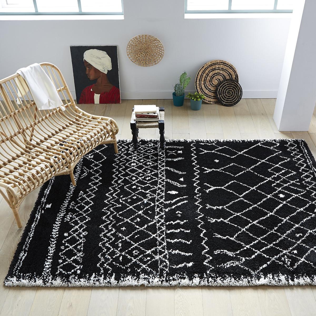 Фото - Ковер LaRedoute В берберском стиле Afaw 3 размера 120 x 170 см черный ковер laredoute в берберском стиле rabisco 160 x 230 см бежевый