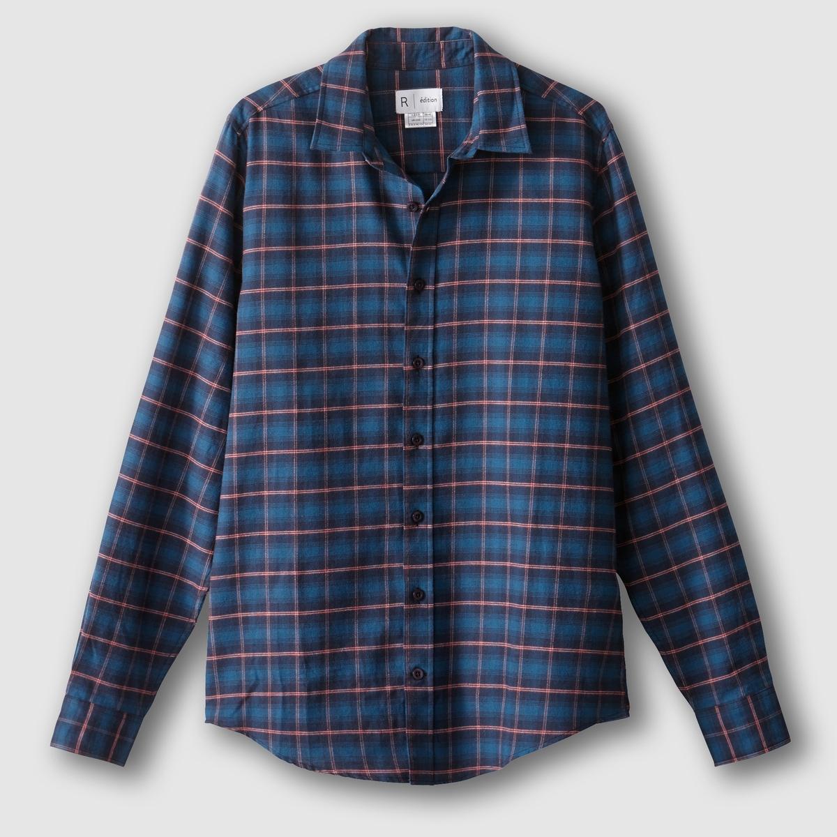 Рубашка прямого покроя с длинными рукавами, 100% хлопокСостав и описание :Материал : 100% хлопокМарка :      R ?ditionУходМашинная стирка при 30 °С<br><br>Цвет: в синюю клетку<br>Размер: 37/38.39/40
