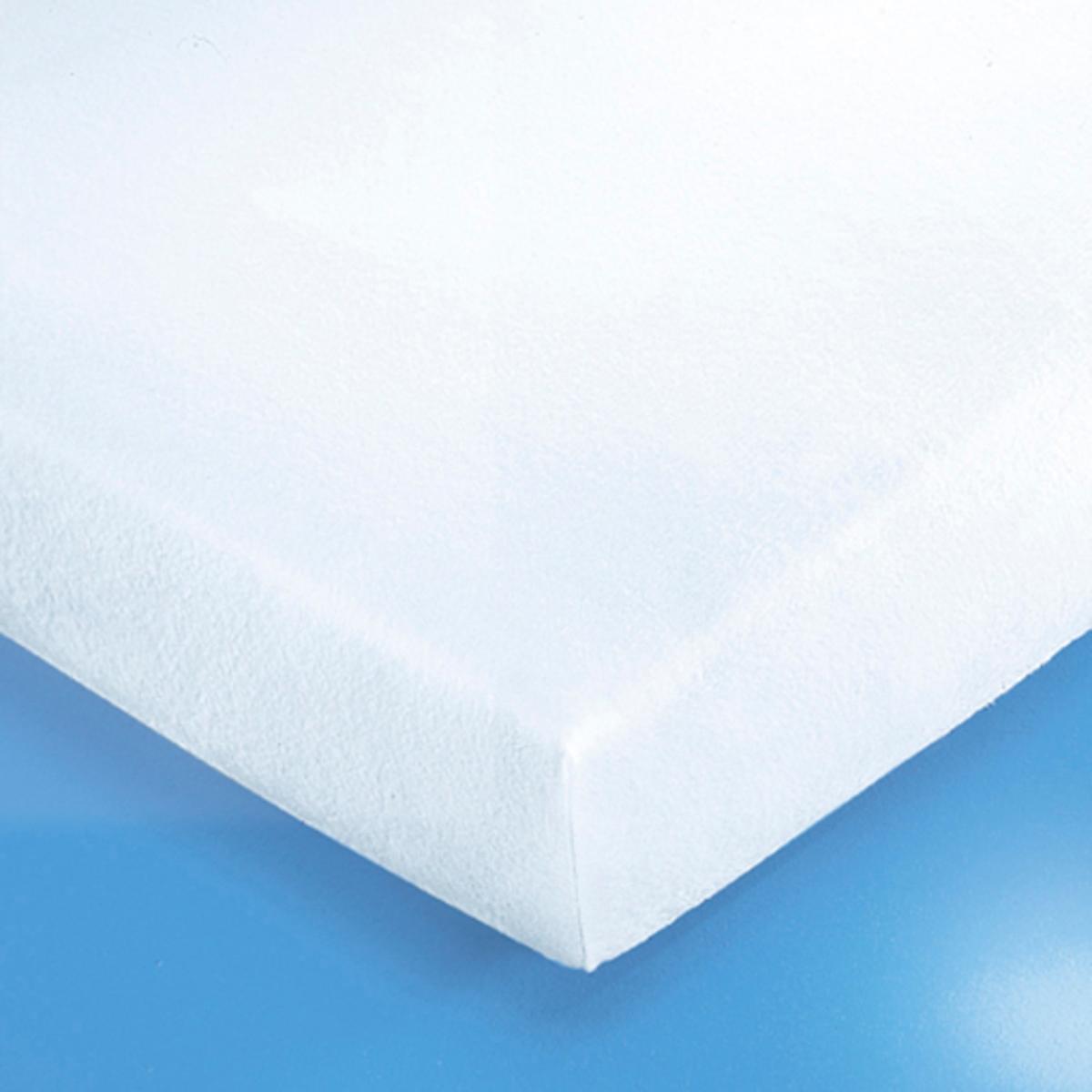 цена на Чехол La Redoute Защитный на матрас натяжной из эластичной махровой ткани с непромокаемой прослойкой из полиуре 40 x 80 см белый