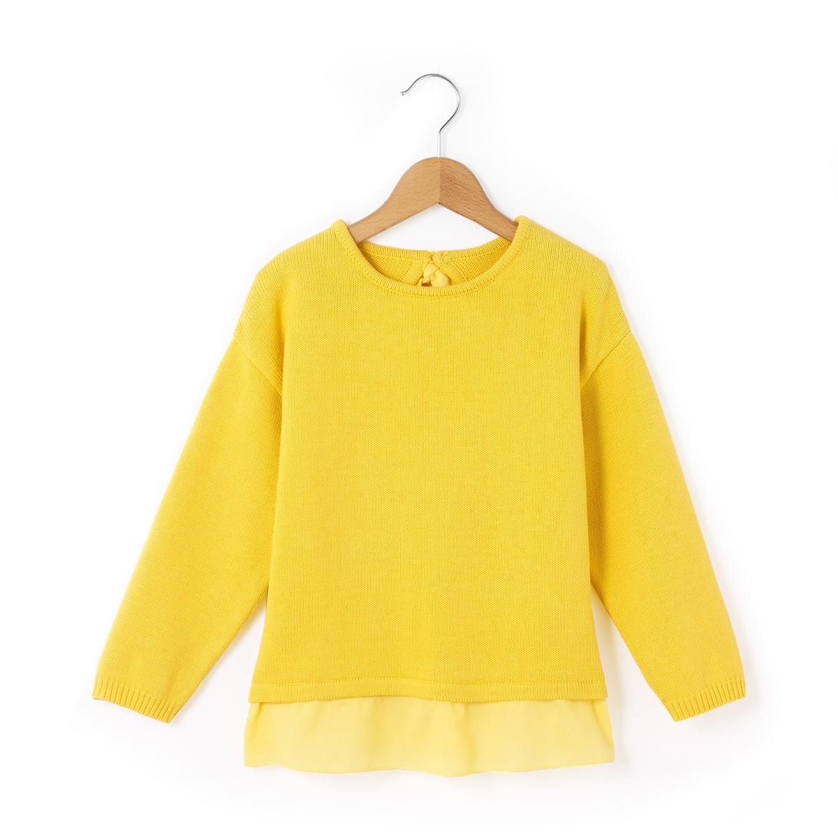 Пуловер с воланом снизу 3-12 лет