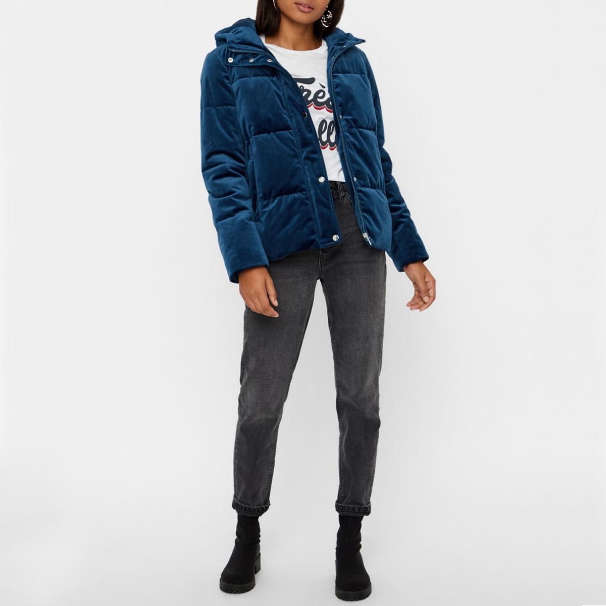 Куртка стеганая короткая из велюра VERO MODA