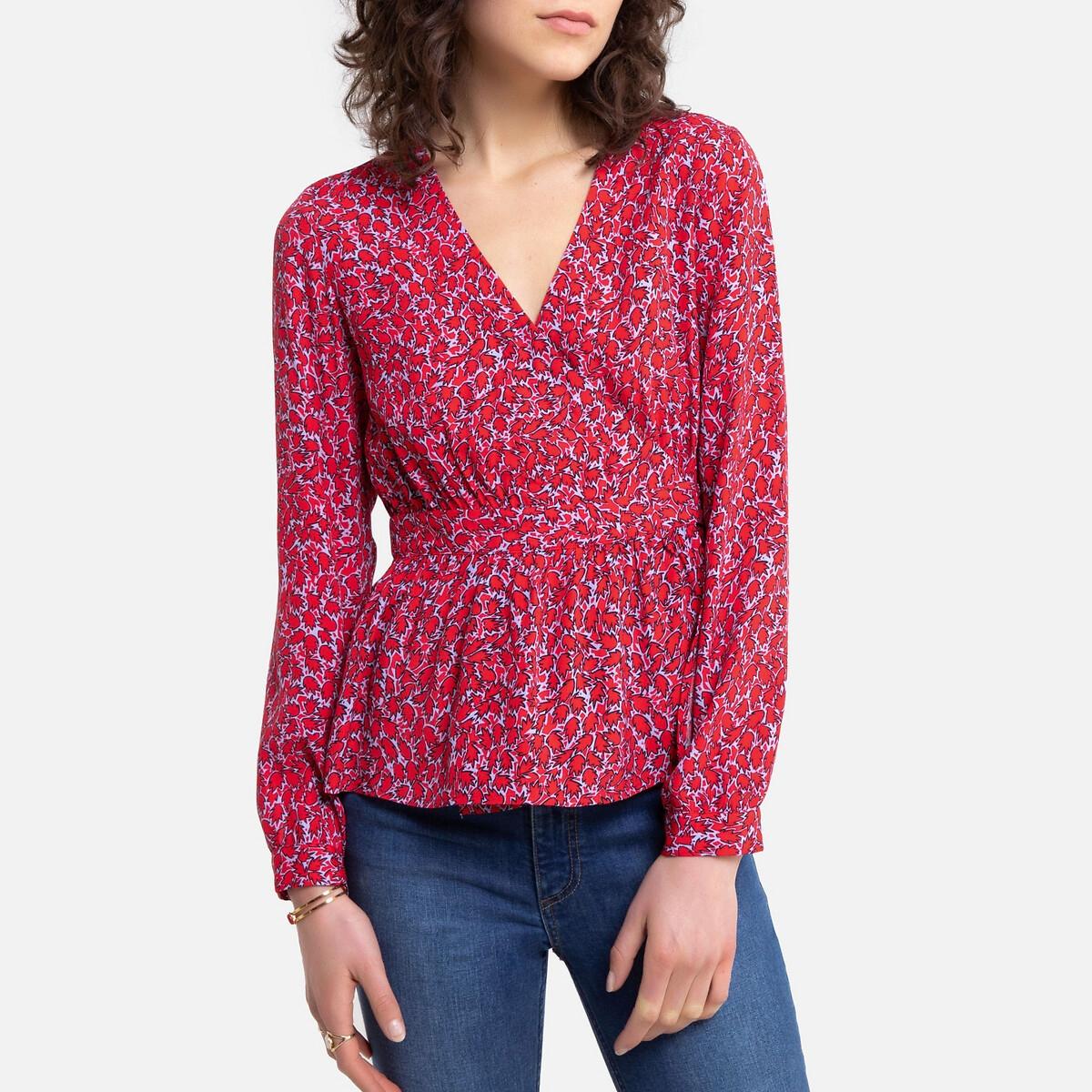 Блузка La Redoute С принтом с баской и длинными рукавами 3(L) красный блузка la redoute из вуали с принтом и длинными рукавами smoke 3 l каштановый