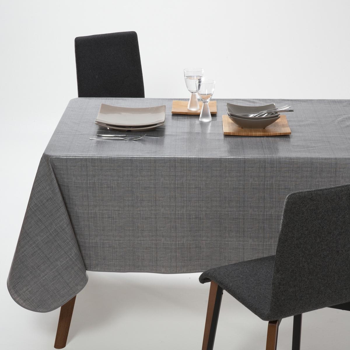 цены Скатерть La Redoute С эффектом тканого полотна из ПВХ 140 x 140 см серый