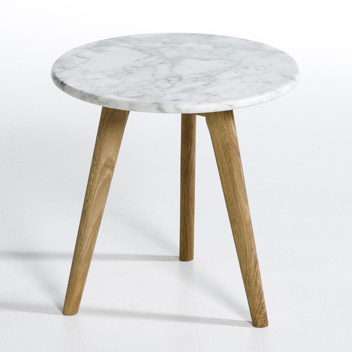Столик диванный Priscille, столешница из мрамораХарактеристики :- Столешница из черного мрамора.- 3 ножки из дуба с пропиткой маслом.- Защитные накладки на ножки  Размеры :- диаметр 40 x высота 40 см<br><br>Цвет: белый