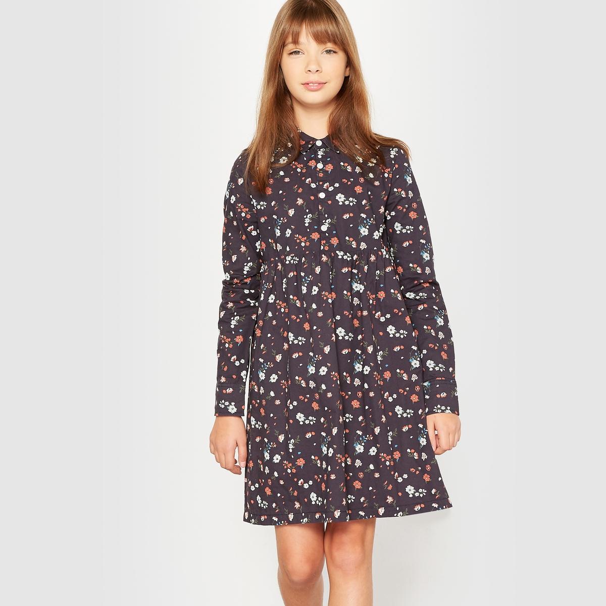 Платье с цветочным рисунком, 10-16 летПлатье с длинными рукавами и  цветочным рисунком.  Рубашечный воротник. Застежка на пуговицы до пояса. Отрезное по талии со складками по линии отреза. Манжеты застегиваются на пуговицу.                    Состав и описание:           Материал: 66,5% хлопка, 30,5% полиэстера, 3% эластана.         Подкладка: на подкладке по низу, 100% хлопка.         Длина: выше колена.         Марка: R pop                       Уход:          Машинная стирка при 30° с вещами подобных цветов.          Стирать и гладить с изнанки.          Машинная сушка в умеренном режиме.          Гладить на низкой температуре.<br><br>Цвет: рисунок темно-синий<br>Размер: 16 лет