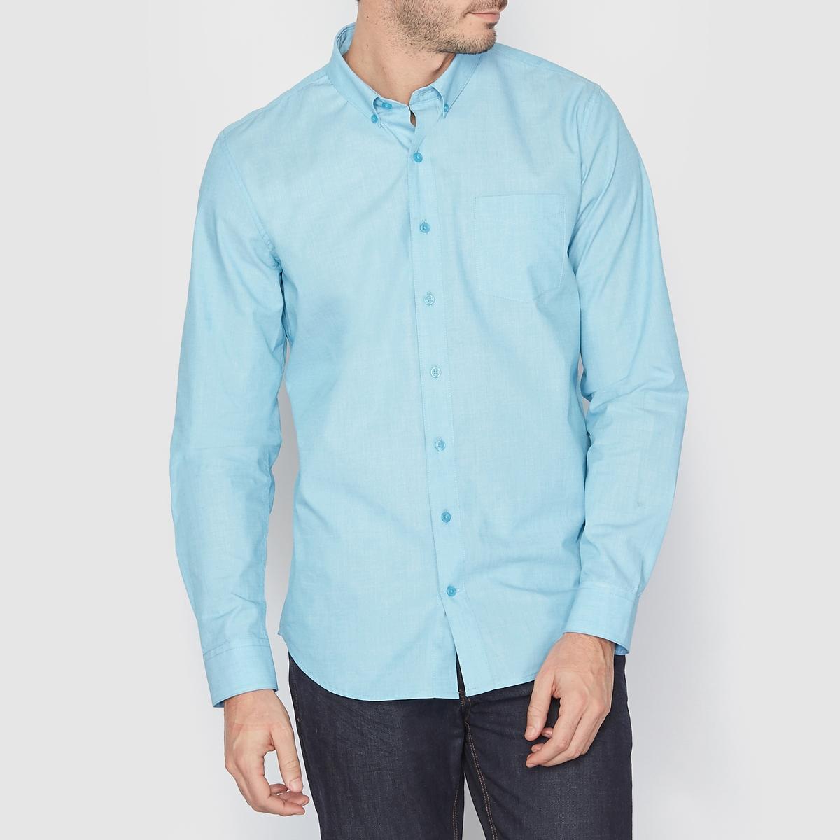 Рубашка прямого покроя с длинными рукавами на пуговицахРубашка с длинными рукавами. Прямой покрой, уголки воротника на пуговицах. Нагрудный карман. Закругленный низ. Длина 77,5 см. Рубашка из 100% хлопка<br><br>Цвет: голубой бирюзовый<br>Размер: 43/44