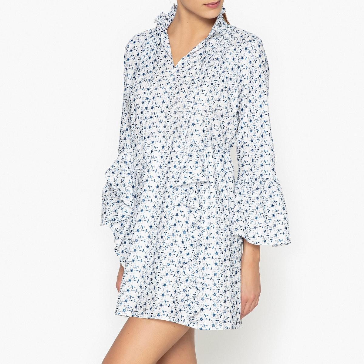 Платье объемное с вышивкой и воланамиСостав и описание :  Основной материал      100% хлопок, Подкладка                    100% вискоза    Марка                        SISTER JANE<br><br>Цвет: белый
