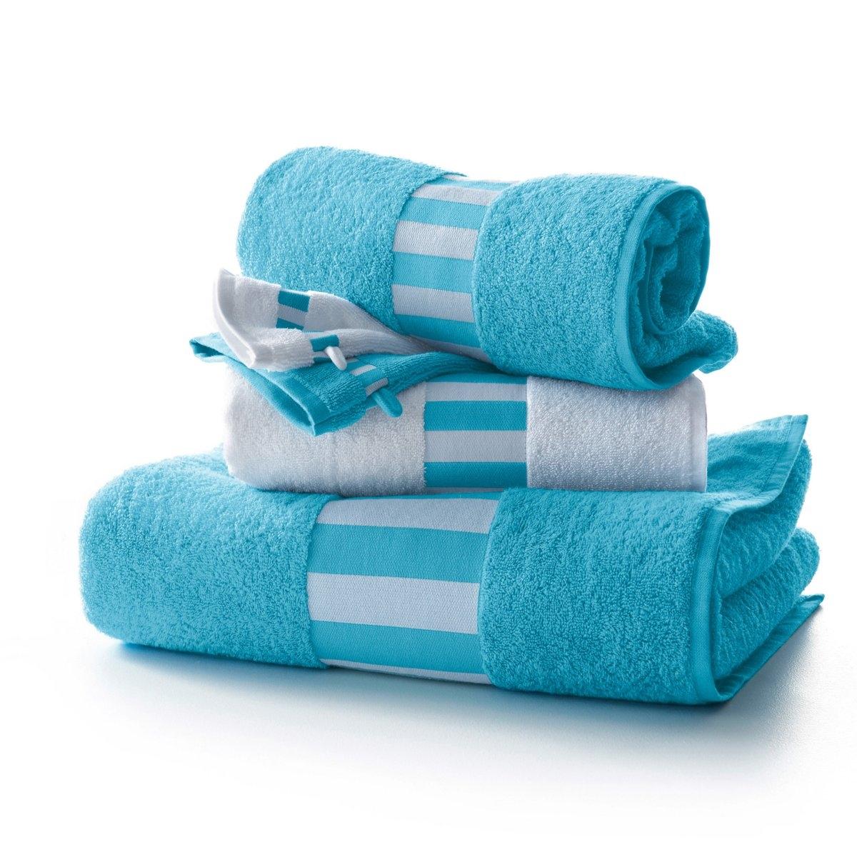 Комплект для ванной LA REDOUTEСтильный комплект из 5 предметов для ванной: 1 однотонное банное полотенце70 х 140 см + 2 полотенца в широкую вертикальную полоску 50 х 100 см + 2 однотонные банные рукавички 15 х 21 см. Мягкая и прочная махровая ткань, 100% хлопка, 420 г/м?. Превосходная стойкость цвета. Машинная стирка при 60°, машинная сушка.<br><br>Цвет: бирюзовый/ белый