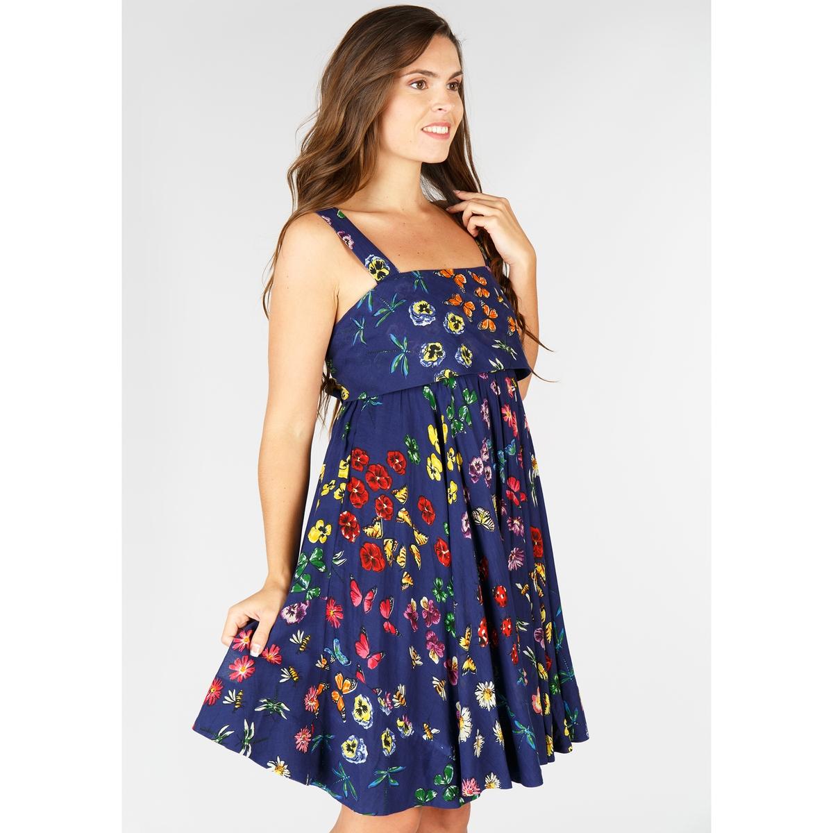 Платье с цветочным рисунком и квадратным вырезом на тонких бретелях цена 2017