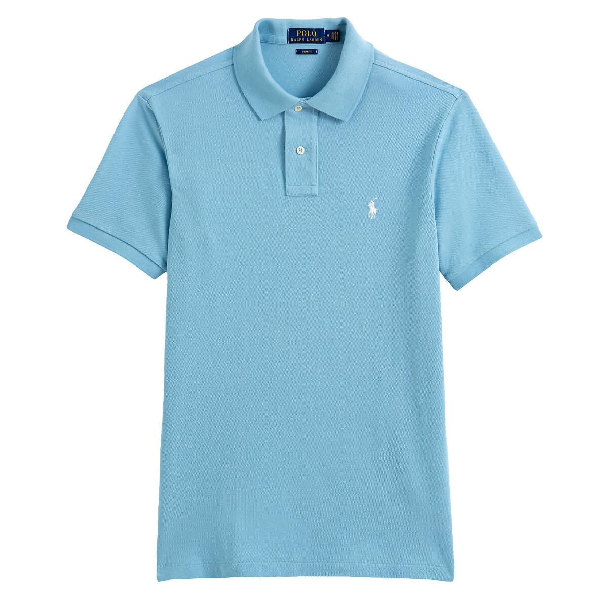 Футболка-поло LaRedoute Узкого покроя из трикотажа пике XL синий футболка поло la redoute прямого покроя из трикотажа пике s серый