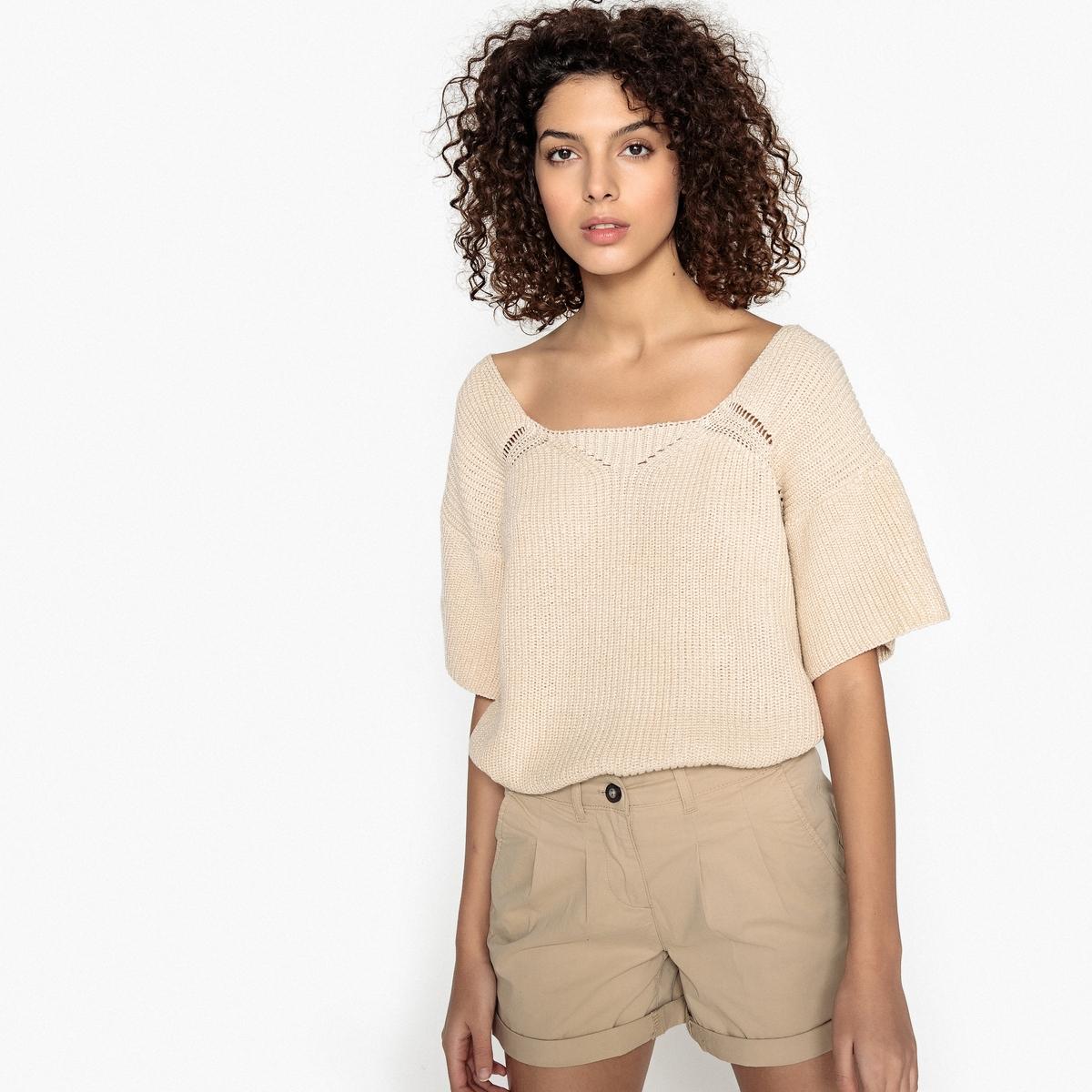 Пуловер с вырезом-лодочкой из тонкого трикотажа пуловер из плотного трикотажа с v образным вырезом