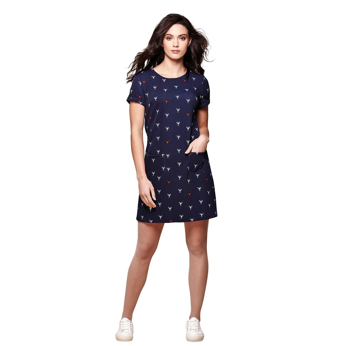 Платье прямое с короткими рукавами и рисункомМатериал : 5% эластана, 95% полиэстера  Длина рукава : короткие рукава  Форма воротника : круглый вырез Покрой платья : короткое Рисунок : принт   Длина платья : короткое<br><br>Цвет: темно-синий<br>Размер: 38 (FR) - 44 (RUS)