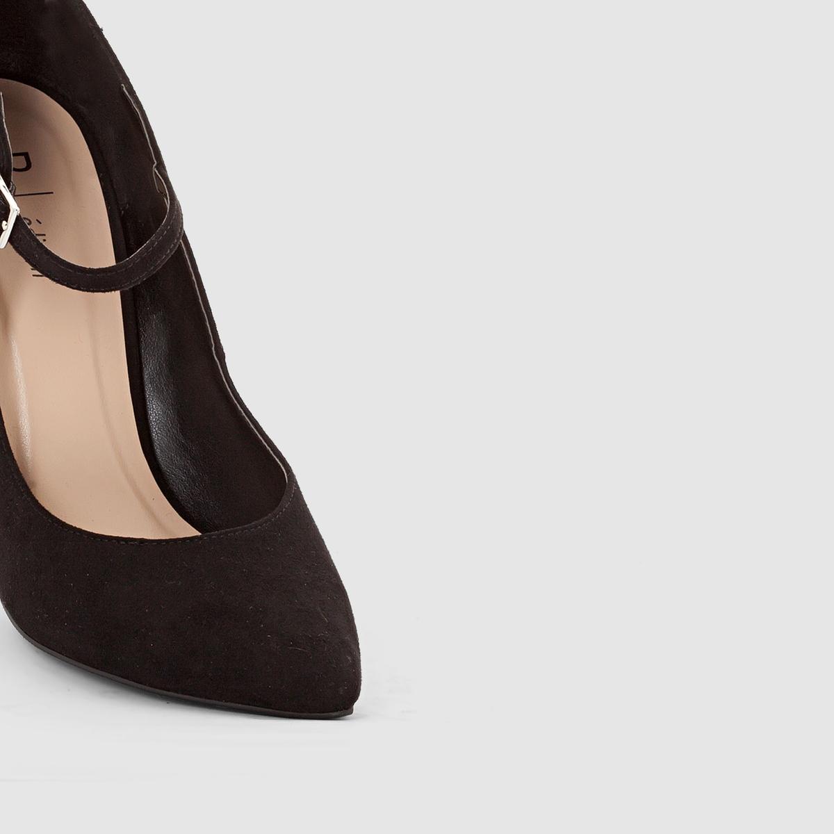 Туфли из искусственной замши с пряжкойМарка :  R ?ditionВерх : искусственная замшаПодкладка : синтетикаСтелька : синтетикаПодошва : из эластомераВысота каблука : 11,5 см Форма каблука : тонкийНосок : заостренныйПреимущества : женственная форма, отличная высота каблука для сногсшибательного силуэта<br><br>Цвет: черный<br>Размер: 41.39