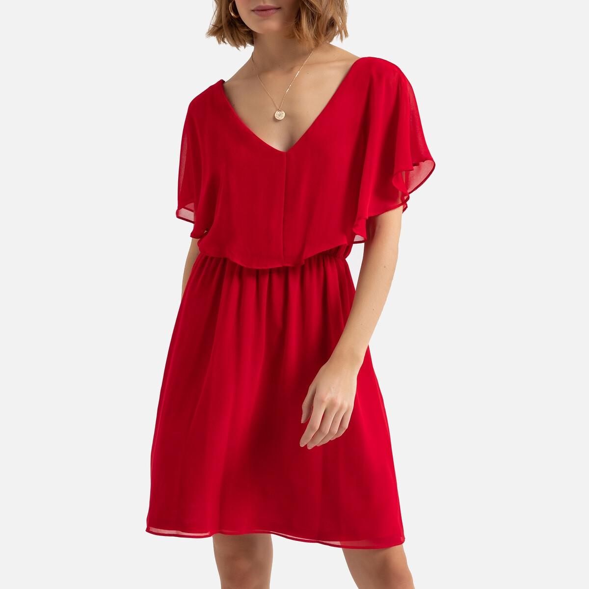 Платье LaRedoute Укороченное с V-образным вырезом 42 красный