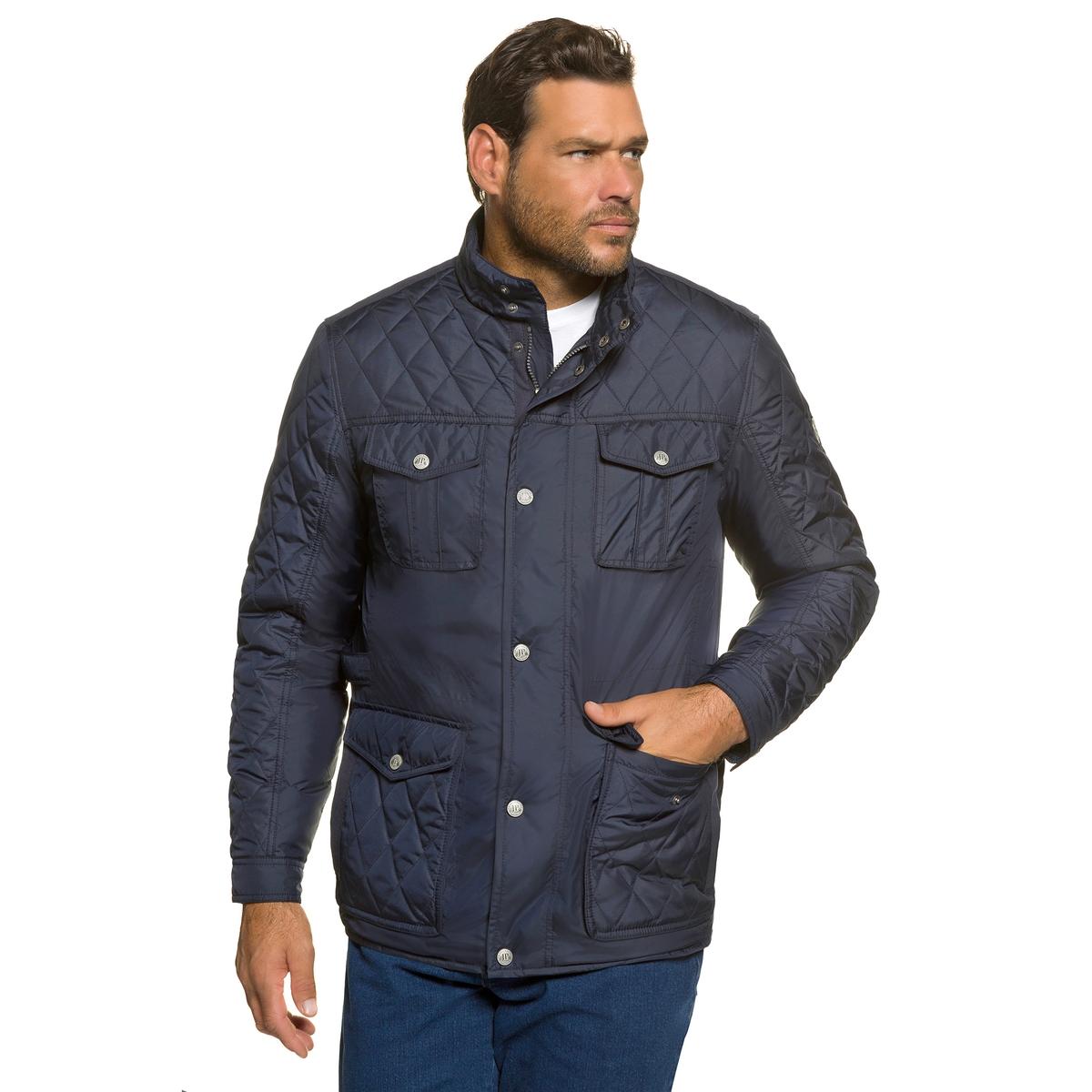 Куртка стеганаяПрямой покрой, на завязках, скрытая молния, 4 кармана. Планки застежки по бокам на поясе, манжеты с застежкой на кнопки. Стеганая подкладка контрастного цвета, кармана на молнии. Длина в зависимости от размера 78-87,5 см.<br><br>Цвет: темно-синий<br>Размер: 6XL.7XL
