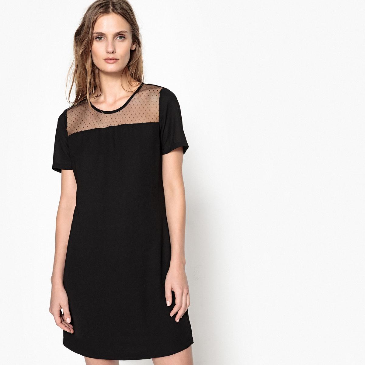 Платье однотонное средней длины, расширяющееся книзуДетали •  Форма : расклешенная •  Длина до колен •  Короткие рукава    •  Круглый вырезСостав и уход •  68% вискозы, 4% эластана, 28% полиамида •  Следуйте советам по уходу, указанным на этикетке<br><br>Цвет: черный