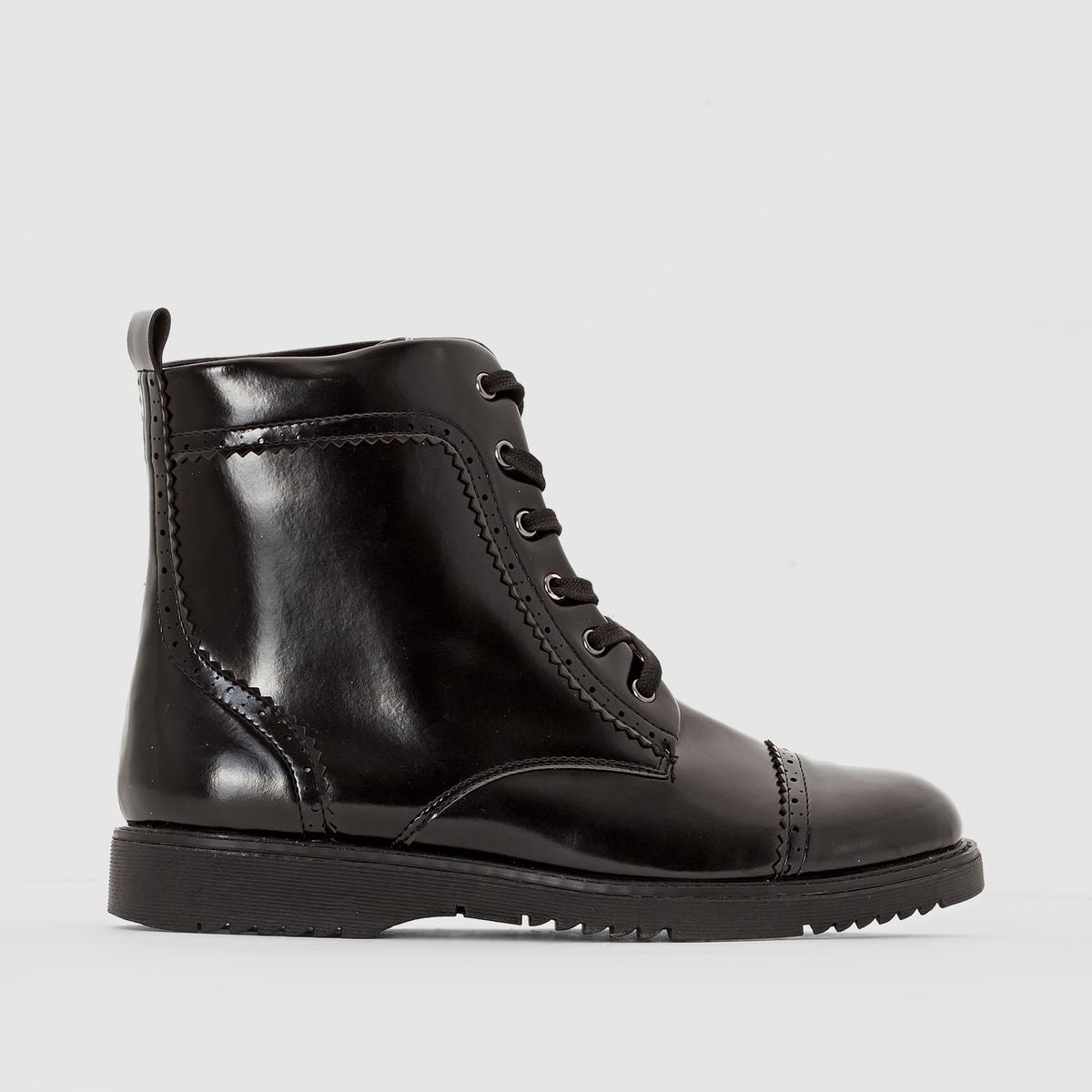 БотинкиДетали   •  Высота каблука : 3 см •  Застежка : шнуровка •  Круглый мысокСостав и уход   •  Верх 100% синтетический материал •  Подкладка 100% хлопок •  Стелька 100% кожа •  Подошва 100% эластомер<br><br>Цвет: черный<br>Размер: 40.39.38.42.43