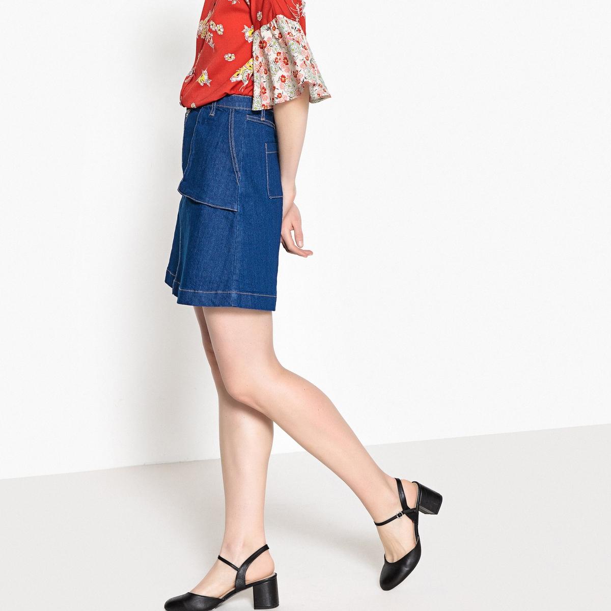 Юбка La Redoute Короткая из джинсовой ткани 34 (FR) - 40 (RUS) синий цена