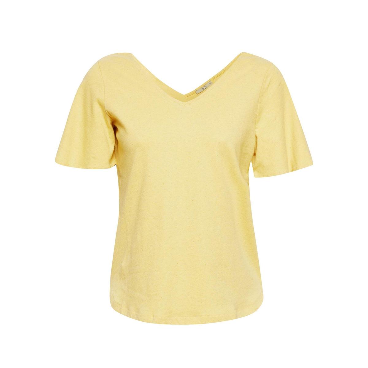 Camiseta con cuello de pico delante y detrás, de manga corta