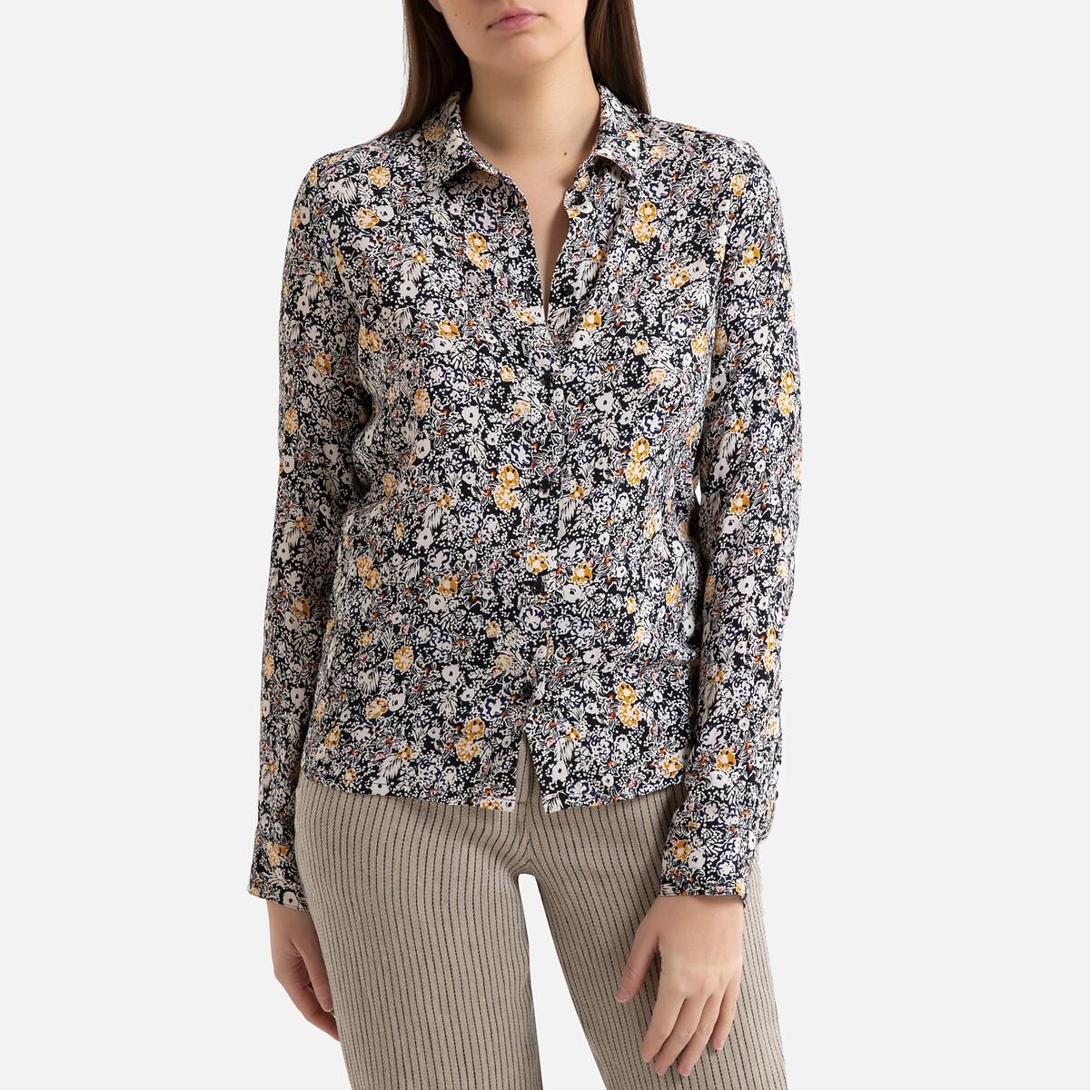 Фото - Блузка LaRedoute С рисунком и длинными рукавами MISIA S синий блузка с рисунком и длинными рукавами для периода беременности