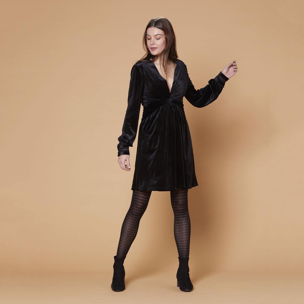 Vestido curto evasé Maisonnette, com decote em V