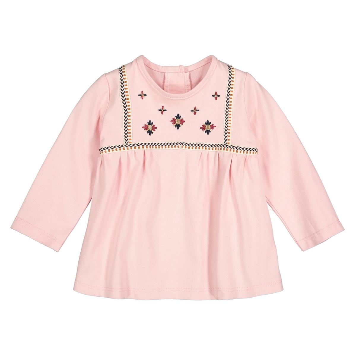 Футболка La Redoute С длинными рукавами с вышивкой мес- года 1 мес. - 54 см розовый шорты с вышивкой 1 мес 3 года